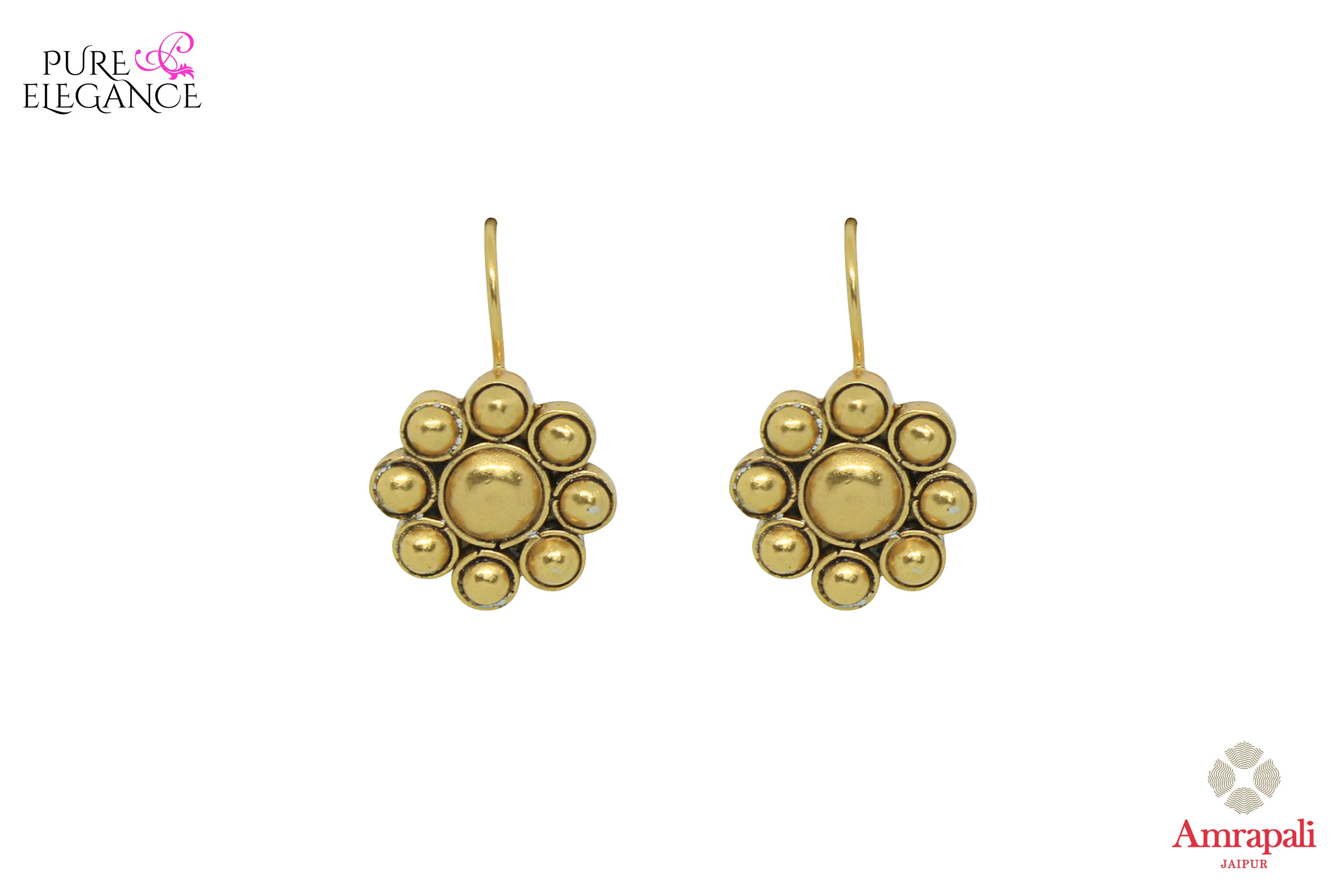 Shop Amrapali silver gold plated flower earrings online in USA. Find an exquisite collection of handcrafted Indian jewelry in USA at Pure Elegance Indian fashion store. Complete your festive look with beautiful silver gold plated necklaces, silver gold plated earrings, silver jewelry from our online store.-front