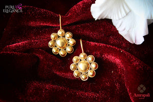 Shop Amrapali silver gold plated flower earrings online in USA. Find an exquisite collection of handcrafted Indian jewelry in USA at Pure Elegance Indian fashion store. Complete your festive look with beautiful silver gold plated necklaces, silver gold plated earrings, silver jewelry from our online store.-flatlay