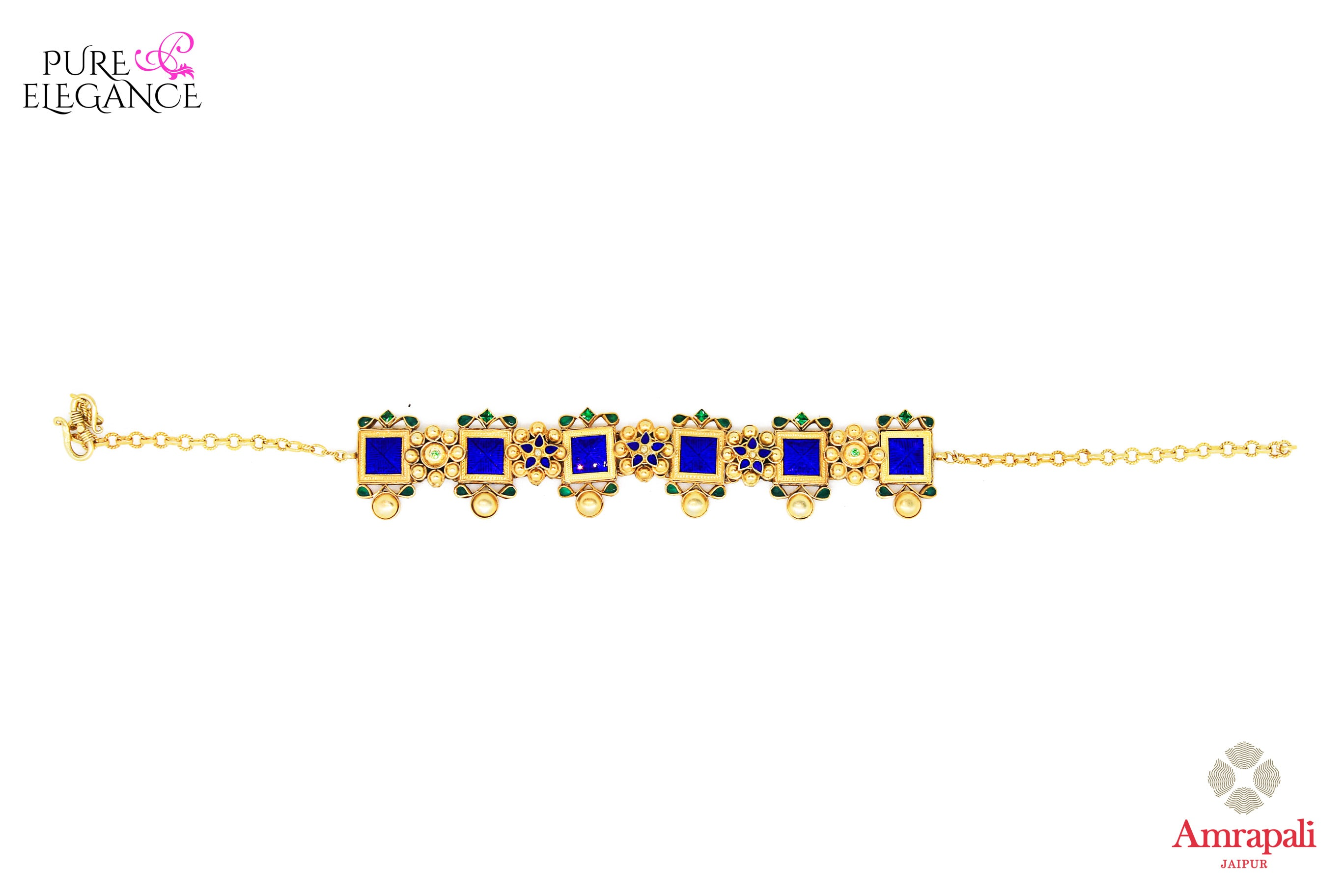 Shop Silver Gold Plated Blue Enamel Green Glass Choker Necklace online in USA from Amrapali.  If you are looking for Indian silver jewelry in USA, then Pure Elegance Indian fashion store is the place for you. A whole range of exquisite of ethnic Indian jewelry is waiting for you on our shelves, you can also opt to shop online.-full view