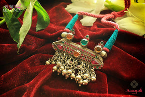 Shop Silver Glass Blue Pink Thread Necklace online in USA from Amrapali.  If you are looking for Indian silver jewelry in USA, then Pure Elegance Indian fashion store is the place for you. A whole range of exquisite of ethnic Indian jewelry is waiting for you on our shelves, you can also opt to shop online.-flat lay