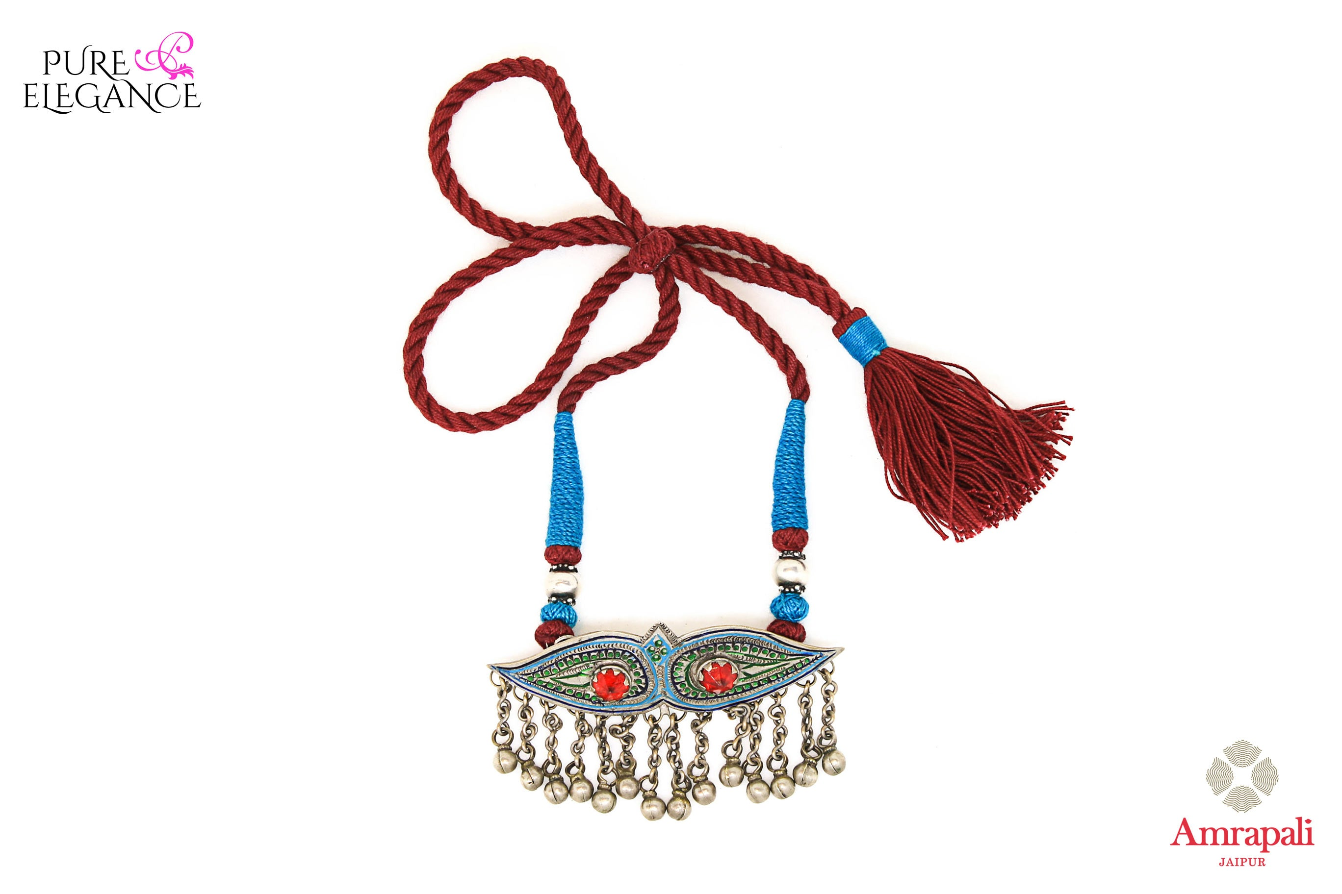 Shop Silver Glass Enamel Blue Red Thread Necklace online in USA from Amrapali.  If you are looking for Indian silver jewelry in USA, then Pure Elegance Indian fashion store is the place for you. A whole range of exquisite of ethnic Indian jewelry is waiting for you on our shelves, you can also opt to shop online.-full view