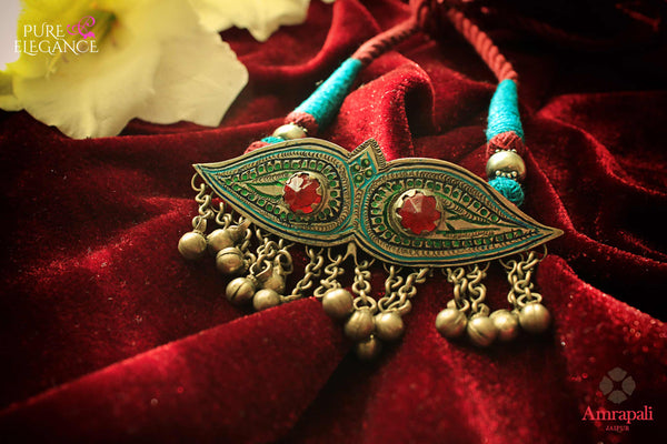 Shop Silver Glass Enamel Blue Red Thread Necklace online in USA from Amrapali.  If you are looking for Indian silver jewelry in USA, then Pure Elegance Indian fashion store is the place for you. A whole range of exquisite of ethnic Indian jewelry is waiting for you on our shelves, you can also opt to shop online.-flat lay