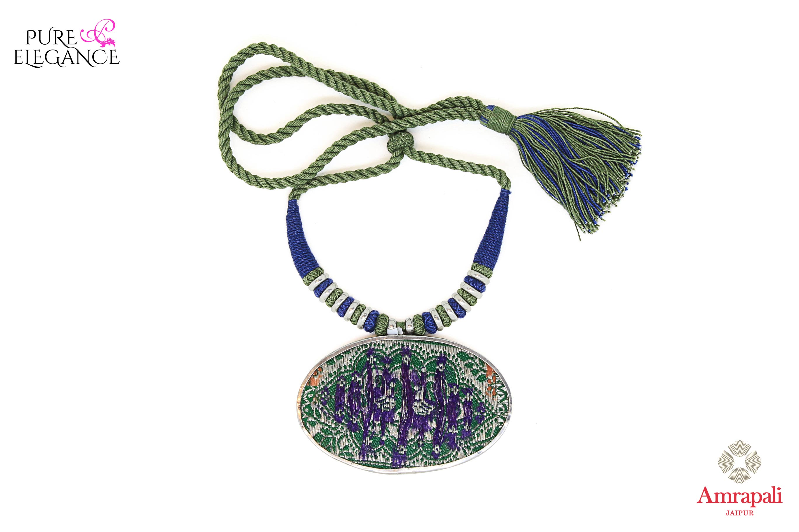 Shop Silver Blue Green Painting Thread Necklace online in USA from Amrapali.  If you are looking for Indian silver jewelry in USA, then Pure Elegance Indian fashion store is the place for you. A whole range of exquisite of ethnic Indian jewelry is waiting for you on our shelves, you can also opt to shop online.-full view