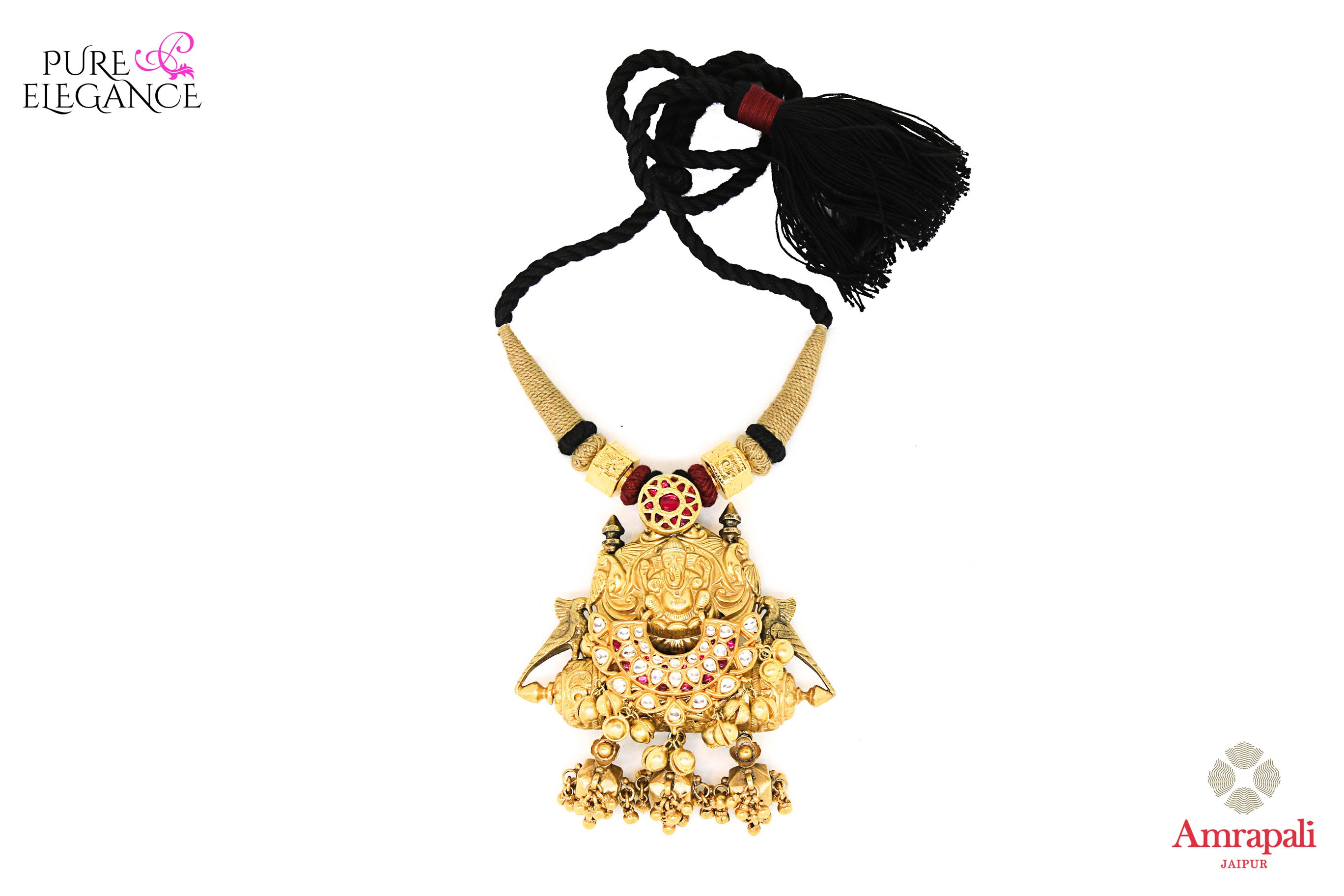 Buy Amrapali silver gold plated thread necklace online in USA with traditional Ganesha pendant. Get your hands on an alluring range of Indian necklaces from Amrapali in USA. Add extra edge to your ethnic look with Indian fashion jewellery available at Pure Elegance Indian fashion store in USA.-front view