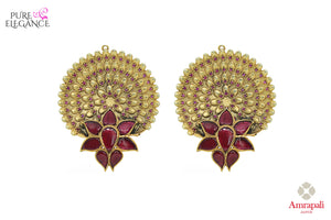 hop silver gold plated intricate floral design earrings online in USA. Bring out the best in your ethnic look with traditional Indian jewelry available at Pure Elegance fashion store in USA. We have a stunning variety of wedding jewelry by Amrapali also available at our online store. Shop now.-front view