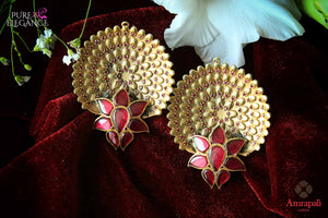 hop silver gold plated intricate floral design earrings online in USA. Bring out the best in your ethnic look with traditional Indian jewelry available at Pure Elegance fashion store in USA. We have a stunning variety of wedding jewelry by Amrapali also available at our online store. Shop now.-full view