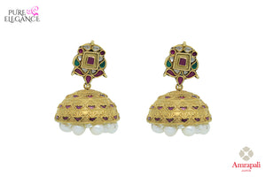 Buy Amrapali silver gold plated glass jhumki earrings with pearl drops online in USA. Find an exquisite collection of handcrafted Indian jewelry in USA at Pure Elegance Indian fashion store. Complete your festive look with beautiful silver gold plated necklaces, silver gold plated earrings, silver jewelry from our online store.-front