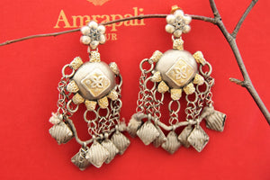 Shop silver handcrafted tribal earrings with tassels online in USA. Find an exquisite collection of handcrafted Indian jewelry in USA at Pure Elegance Indian fashion store. Complete your festive look with beautiful silver gold plated necklaces, silver gold plated earrings, silver jewelry from our online store.-full view
