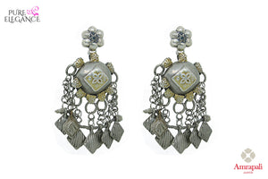 Shop silver handcrafted tribal earrings with tassels online in USA. Find an exquisite collection of handcrafted Indian jewelry in USA at Pure Elegance Indian fashion store. Complete your festive look with beautiful silver gold plated necklaces, silver gold plated earrings, silver jewelry from our online store.-front