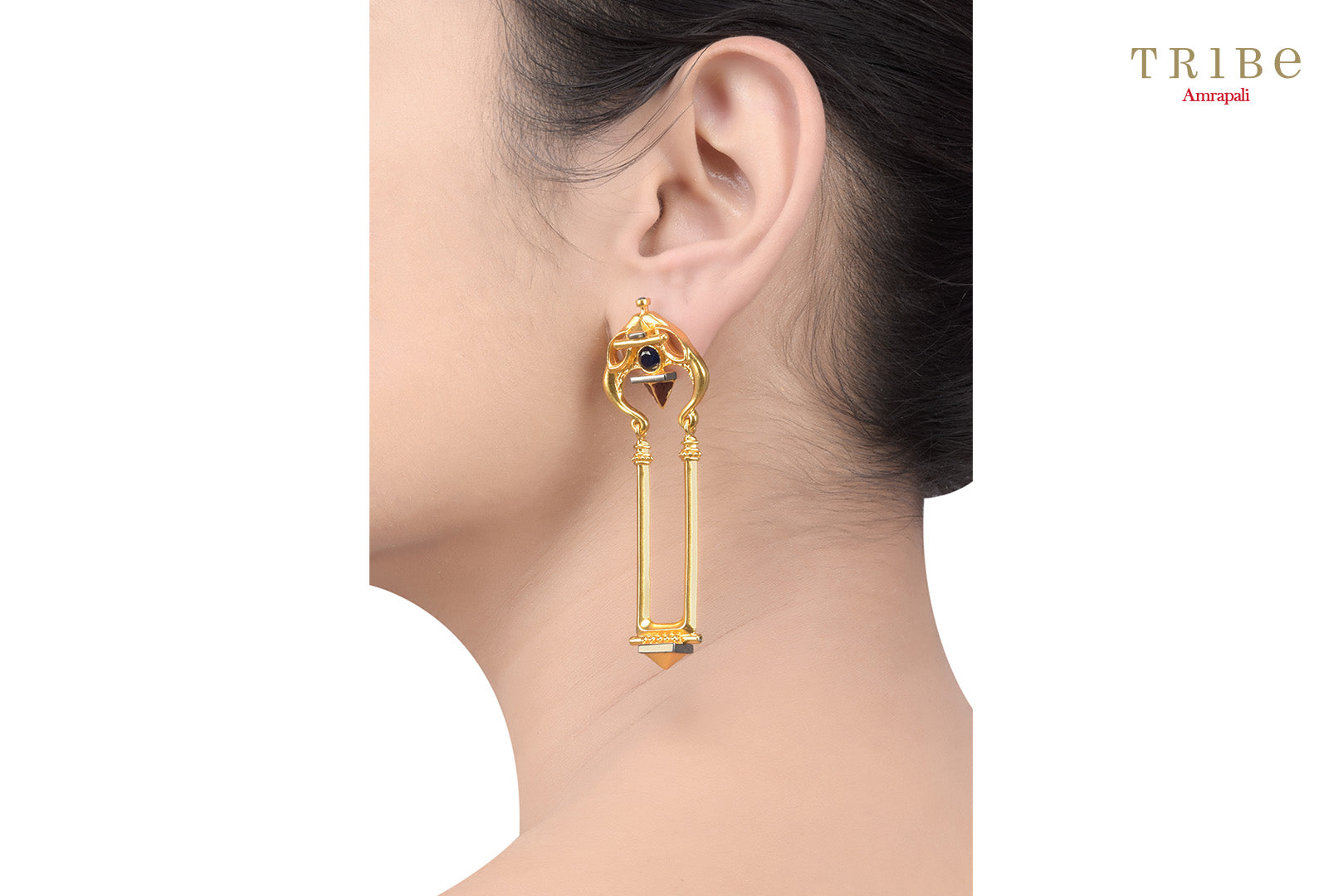 Buy gold plated serpent dangle earrings online in USA by Amrapali. Adorn your Indian traditional look with an exquisite range of Indian silver gold plated jewellery available at Pure Elegance fashion store in USA or shop online. -ear view