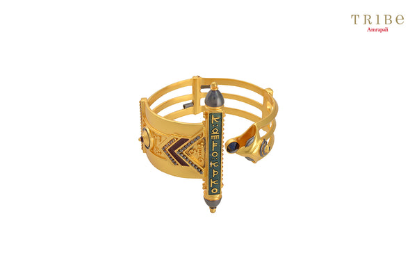 Buy Amrapali serpent mantra gold plated bangle online in USA. Add a sparkling touch to your ethnic look with beautiful Indian gold plated jewellery available at Pure Elegance exclusive Indian fashion store in USA or shop online.-full view
