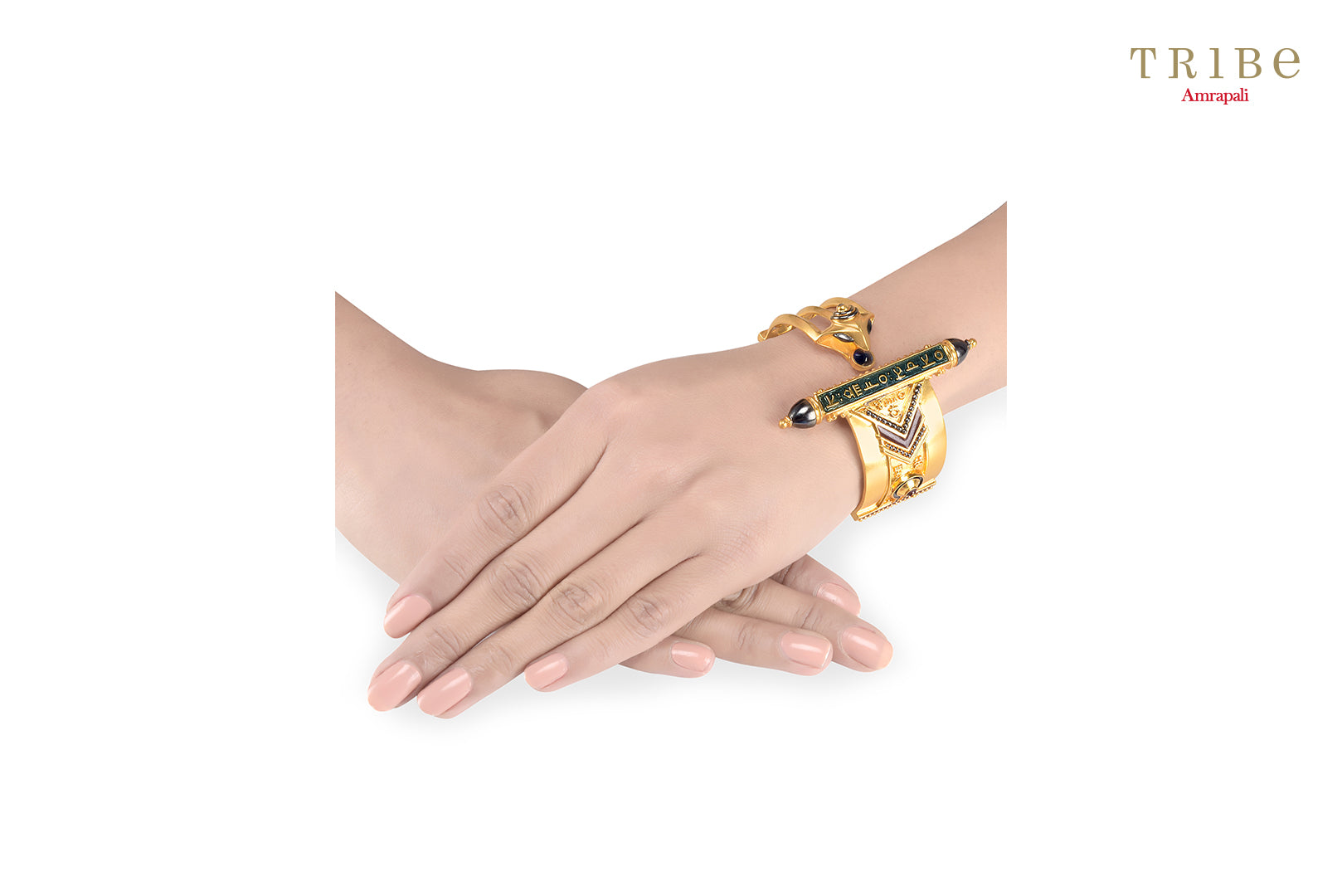 Buy Amrapali serpent mantra gold plated bangle online in USA. Add a sparkling touch to your ethnic look with beautiful Indian gold plated jewellery available at Pure Elegance exclusive Indian fashion store in USA or shop online.-hand view