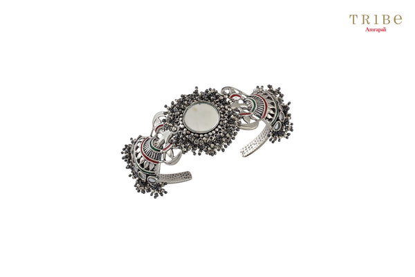 Buy Amrapali fan motif mirror enameled silver bracelet online in USA. Add a sparkling touch to your ethnic look with beautiful Indian ethnic jewelry available at Pure Elegance exclusive Indian fashion store in USA or shop online.-full view