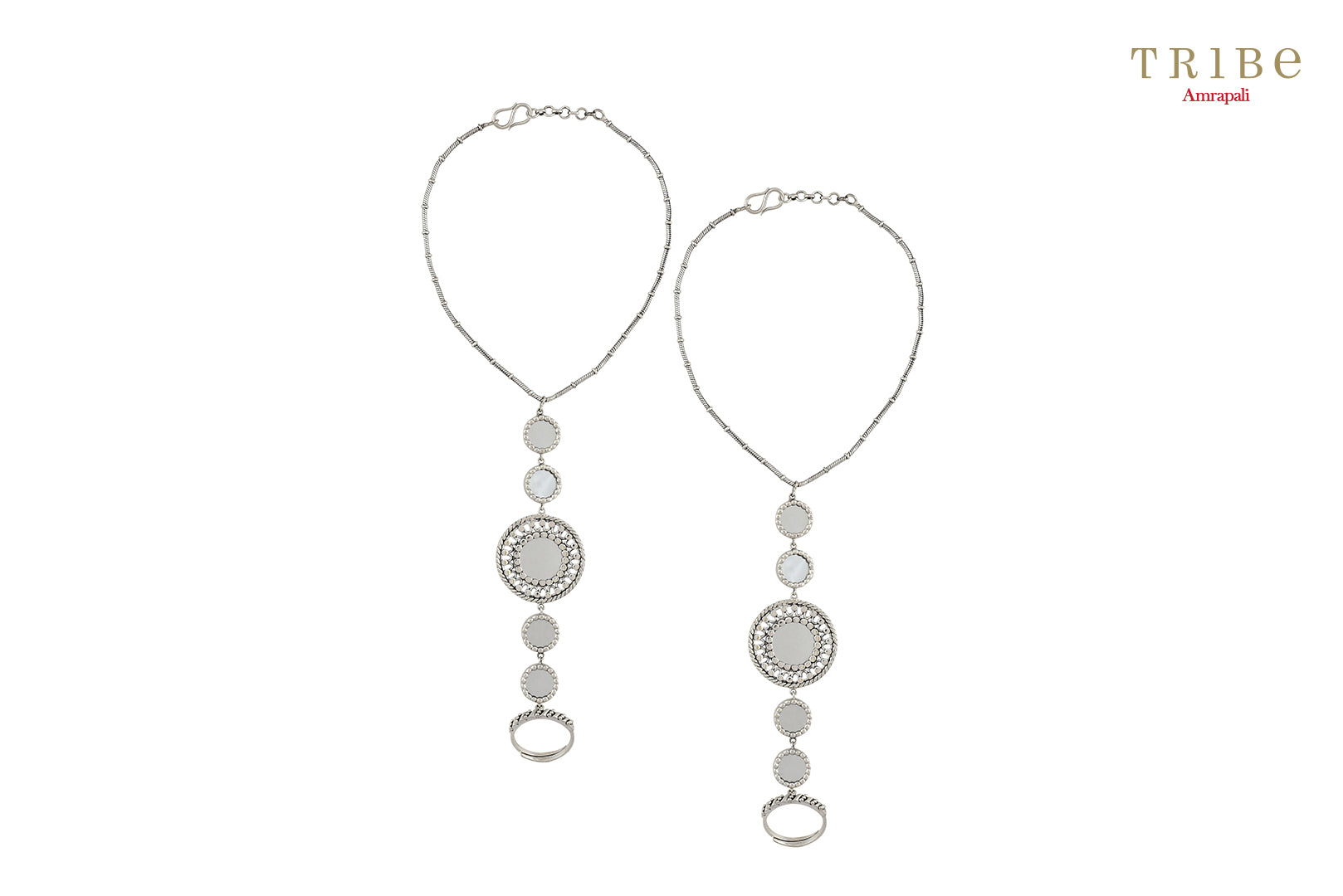 Buy Amrapali multi-round mirror silver anklet online in USA. Add a sparkling touch to your ethnic look with beautiful Indian silver jewelry available at Pure Elegance exclusive Indian fashion store in USA or shop online.-full view
