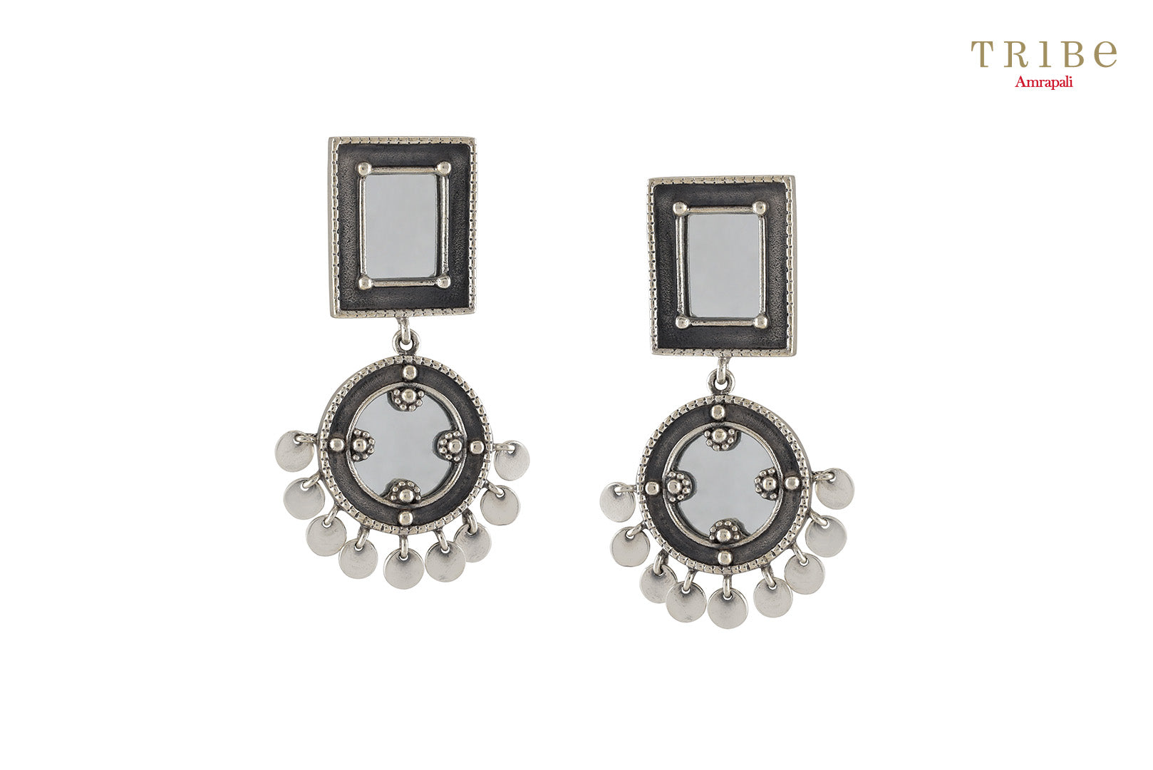 Buy Amrapali square round charm drop silver mirror earrings online in USA. Add a sparkling touch to your ethnic look with beautiful Indian silver jewelry available at Pure Elegance exclusive Indian fashion store in USA or shop online.-full view