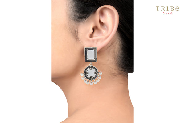 Buy Amrapali square round charm drop silver mirror earrings online in USA. Add a sparkling touch to your ethnic look with beautiful Indian silver jewelry available at Pure Elegance exclusive Indian fashion store in USA or shop online.- ear view