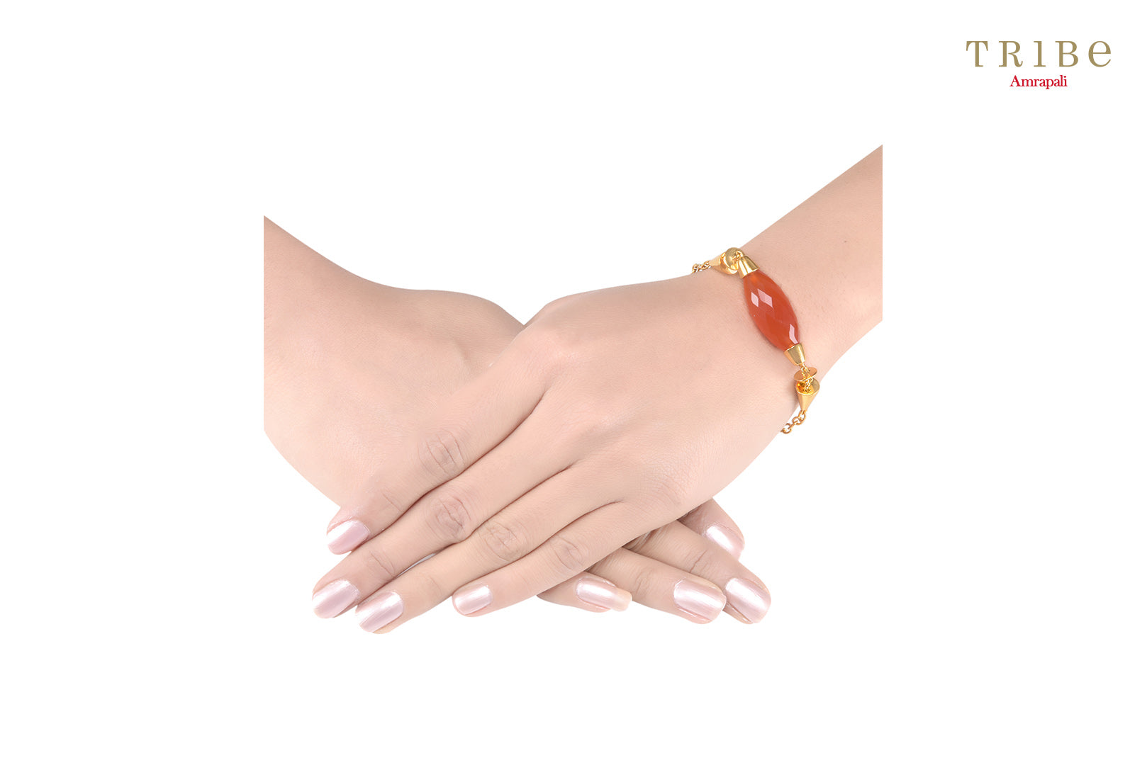 Buy silver gold plated red onyx barrel bracelet online in USA by Amrapali. Adorn your Indian traditional look with an exquisite range of Indian fashion jewelry available at Pure Elegance fashion store in USA or shop online.-hand view
