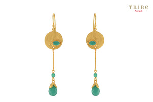 Buy silver gold plated green onyx pear drop earrings online in USA by Amrapali. Adorn your Indian traditional look with an exquisite range of Indian jewelry available at Pure Elegance fashion store in USA or shop online.-full view