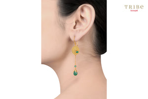 Buy silver gold plated green onyx pear drop earrings online in USA by Amrapali. Adorn your Indian traditional look with an exquisite range of Indian jewelry available at Pure Elegance fashion store in USA or shop online.-ear view
