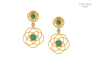 Buy silver gold plated green onyx flower wire earrings online in USA by Amrapali. Adorn your Indian traditional look with an exquisite range of Indian silver gold plated jewelry available at Pure Elegance fashion store in USA or shop online. -full view