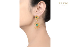 Buy silver gold plated green onyx flower wire earrings online in USA by Amrapali. Adorn your Indian traditional look with an exquisite range of Indian silver gold plated jewelry available at Pure Elegance fashion store in USA or shop online. -ear view
