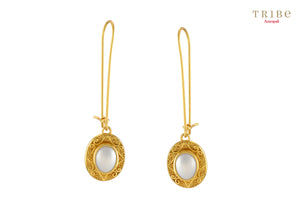 Buy silver gold plated pearl oval drop hook earrings online in USA by Amrapali. Adorn your Indian traditional look with an exquisite range of Indian silver gold plated jewellery available at Pure Elegance fashion store in USA or shop online. -full view
