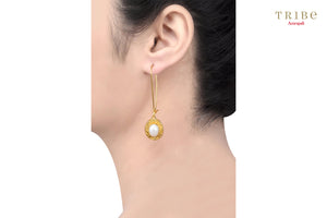 Buy silver gold plated pearl oval drop hook earrings online in USA by Amrapali. Adorn your Indian traditional look with an exquisite range of Indian silver gold plated jewellery available at Pure Elegance fashion store in USA or shop online. -ear view