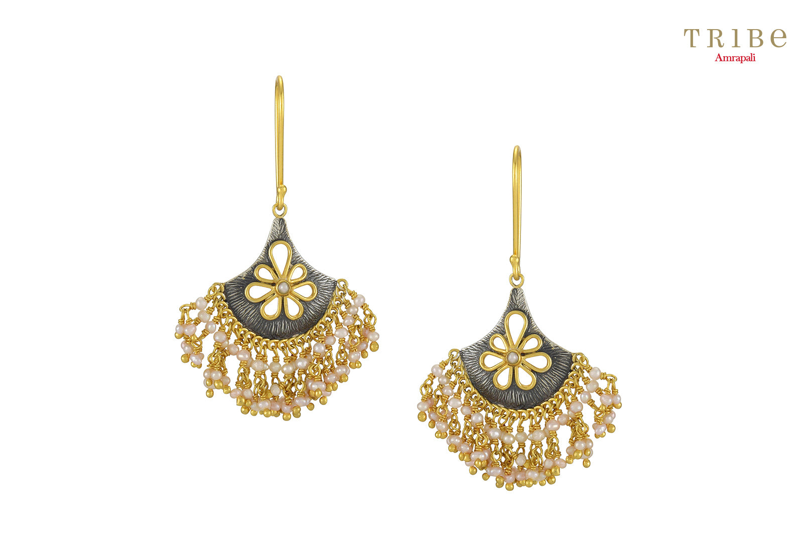 Buy silver dual tone flower pearl droplet earrings online in USA by Amrapali. Adorn your Indian traditional look with an exquisite range of Indian silver gold plated jewellery available at Pure Elegance fashion store in USA or shop online. -full view