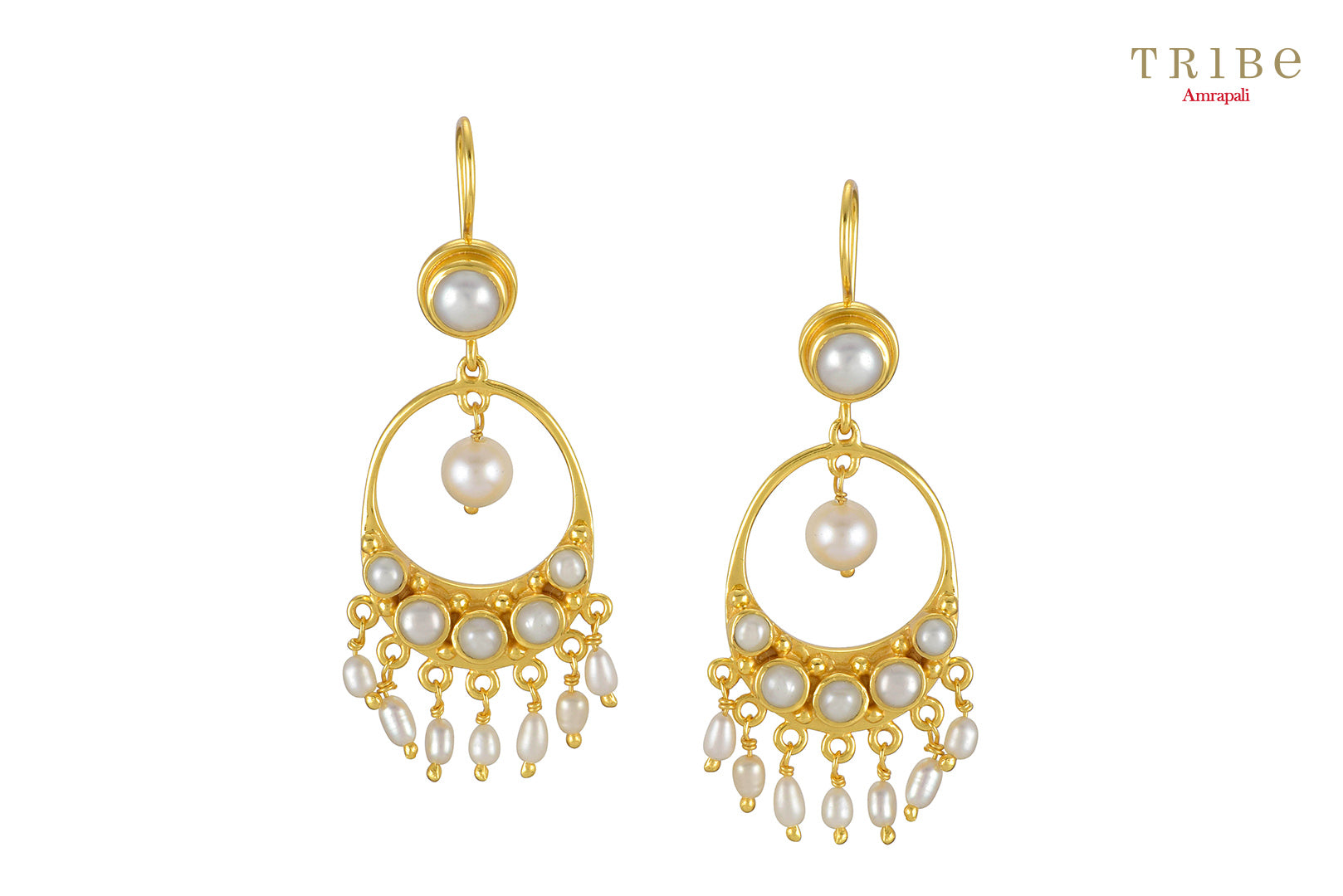 Buy silver gold plated pearl round droplet hook earrings online in USA by Amrapali. Adorn your Indian traditional look with an exquisite range of Indian silver gold plated jewellery available at Pure Elegance fashion store in USA or shop online. -full view