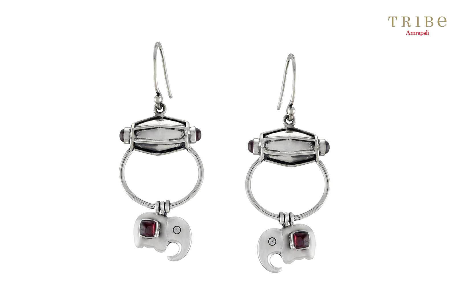 Shop silver drum elephant drop garnet earrings online in USA by Amrapali. Adorn your Indian traditional look with an exquisite range of Indian silver jewelry available at Pure Elegance fashion store in USA or shop online. -full view
