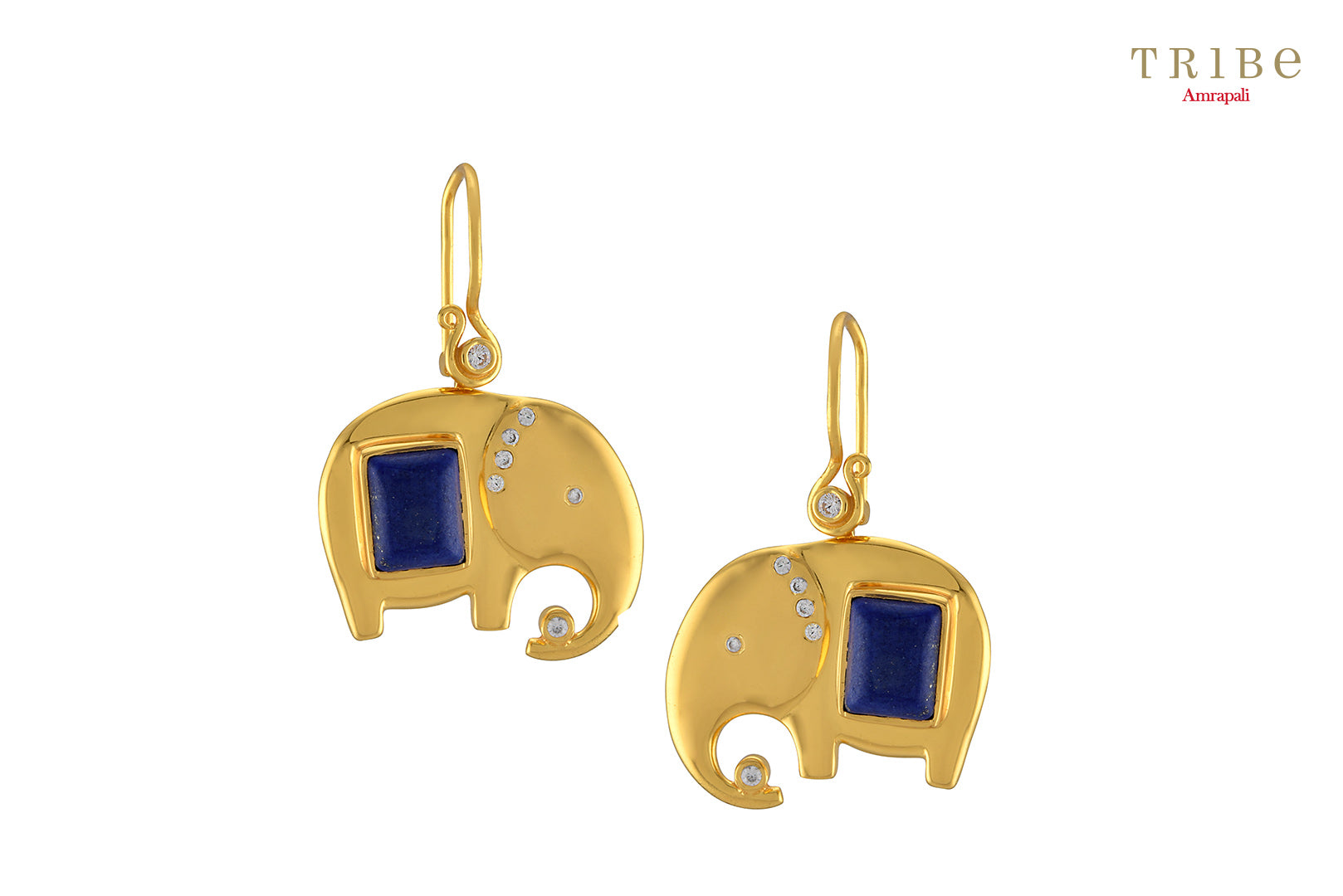 Shop online silver gold plated zircon lapis studded elephant earrings online in USA by Amrapali. Adorn your Indian traditional look with an exquisite range of Indian silver gold plated earrings available at Pure Elegance fashion store in USA or shop online. -full view