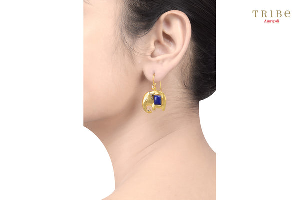 Shop online silver gold plated zircon lapis studded elephant earrings online in USA by Amrapali. Adorn your Indian traditional look with an exquisite range of Indian silver gold plated earrings available at Pure Elegance fashion store in USA or shop online. -ear view