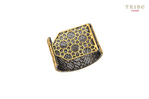 Shop online silver gold plated semicircular flap bangle in USA by Amrapali. Adorn your Indian traditional look with an exquisite range of Indian silver gold plated bangles available at Pure Elegance fashion store in USA or shop online. -full view