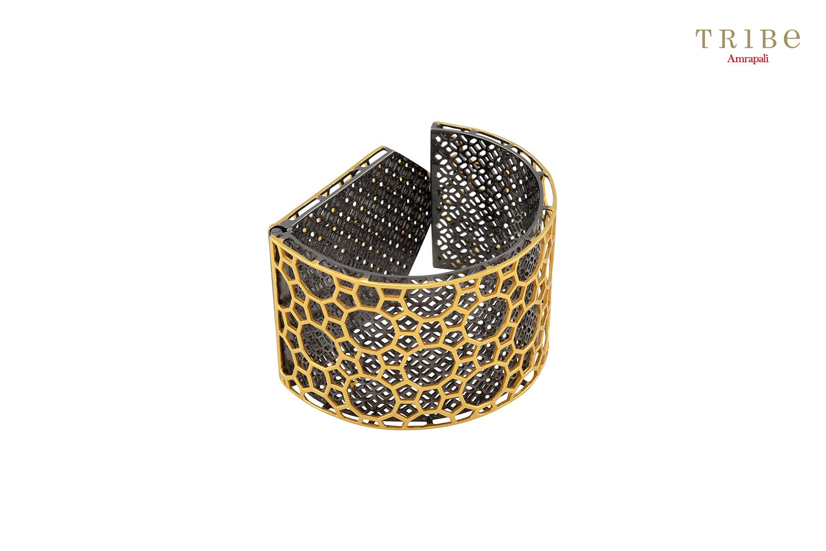 Shop online silver gold plated semicircular flap bangle in USA by Amrapali. Adorn your Indian traditional look with an exquisite range of Indian silver gold plated bangles available at Pure Elegance fashion store in USA or shop online. -Side View