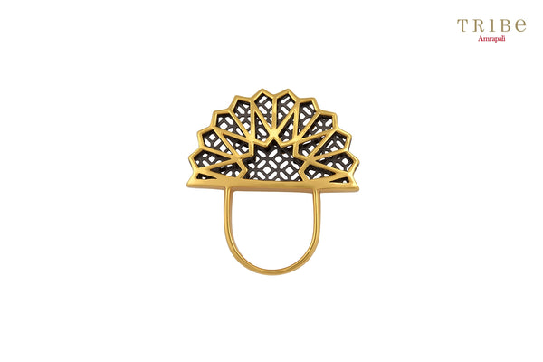 Buy Silver Dual Tone Fan Heap Ring online in USA by Amrapali. Adorn your Indian traditional look with an exquisite range of Indian silver gold plated jewellery available at Pure Elegance fashion store in USA or shop online. -full view
