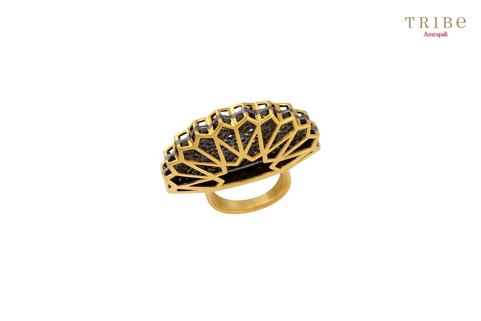 Buy Silver Dual Tone Fan Heap Ring online in USA by Amrapali. Adorn your Indian traditional look with an exquisite range of Indian silver gold plated jewellery available at Pure Elegance fashion store in USA or shop online. -Top view