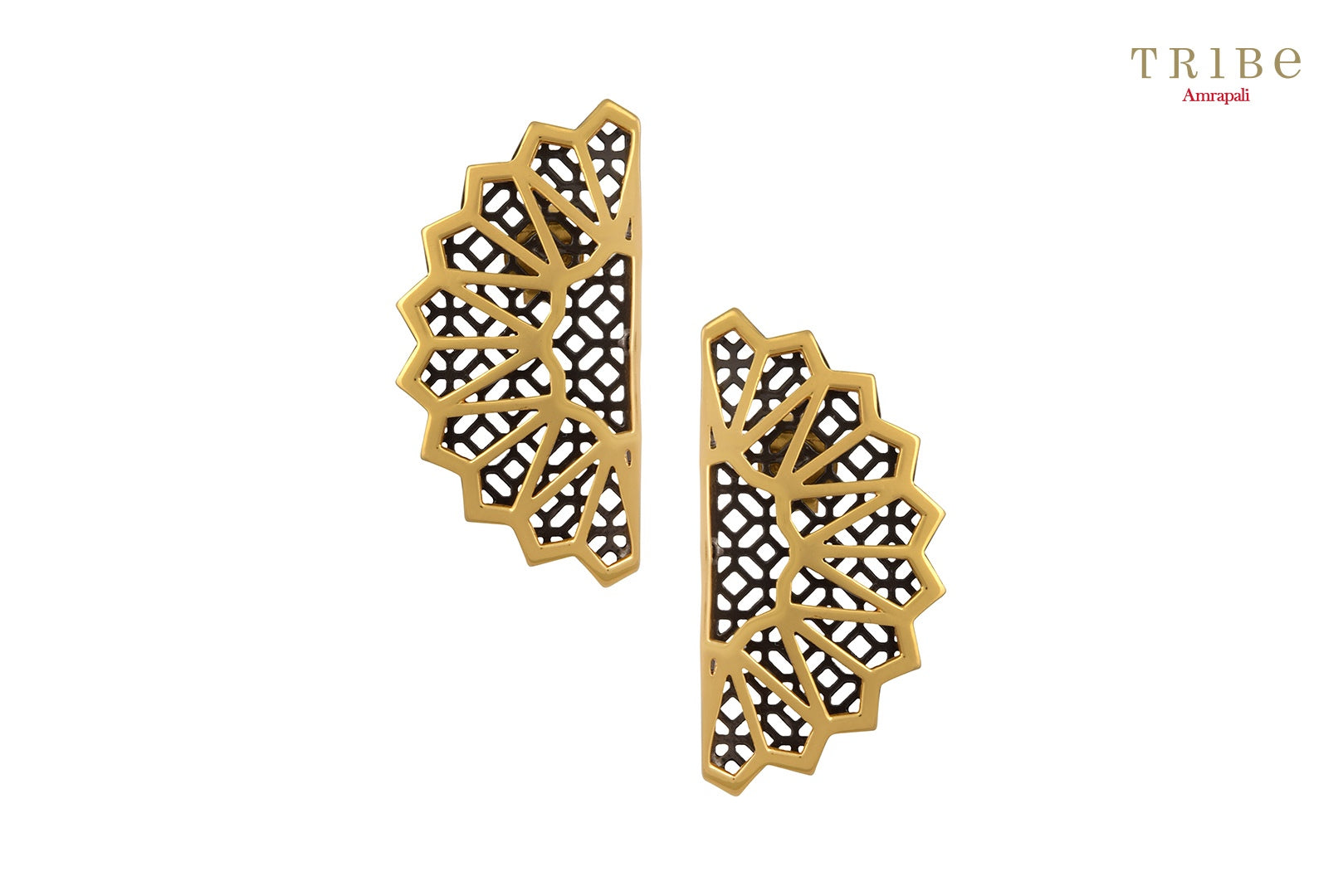 Shop online Silver Dual Tone Fan Motif Earrings in USA by Amrapali. Adorn your Indian traditional look with an exquisite range of Indian silver gold plated earrings available at Pure Elegance fashion store in USA or shop online. -full view