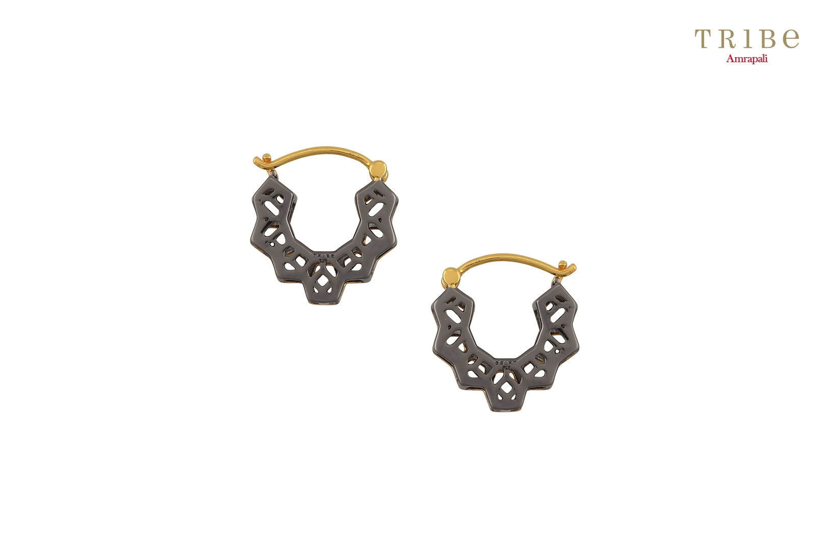 Buy Silver Dual Tone Hexagon Pentagon Earrings online in USA by Amrapali. Adorn your Indian traditional look with an exquisite range of Indian silver gold plated jewellery available at Pure Elegance fashion store in USA or shop online. -Back view