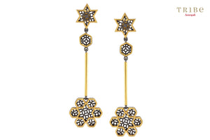 Buy Silver Dual Tone Star Flower Drop Earrings online in USA by Amrapali. Adorn your Indian traditional look with an exquisite range of Indian silver gold plated jewellery available at Pure Elegance fashion store in USA or shop online. -full view