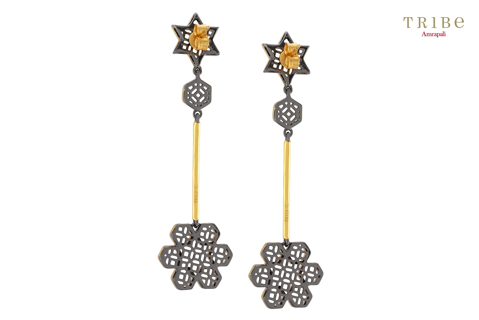 Buy Silver Dual Tone Star Flower Drop Earrings online in USA by Amrapali. Adorn your Indian traditional look with an exquisite range of Indian silver gold plated jewellery available at Pure Elegance fashion store in USA or shop online. - back view