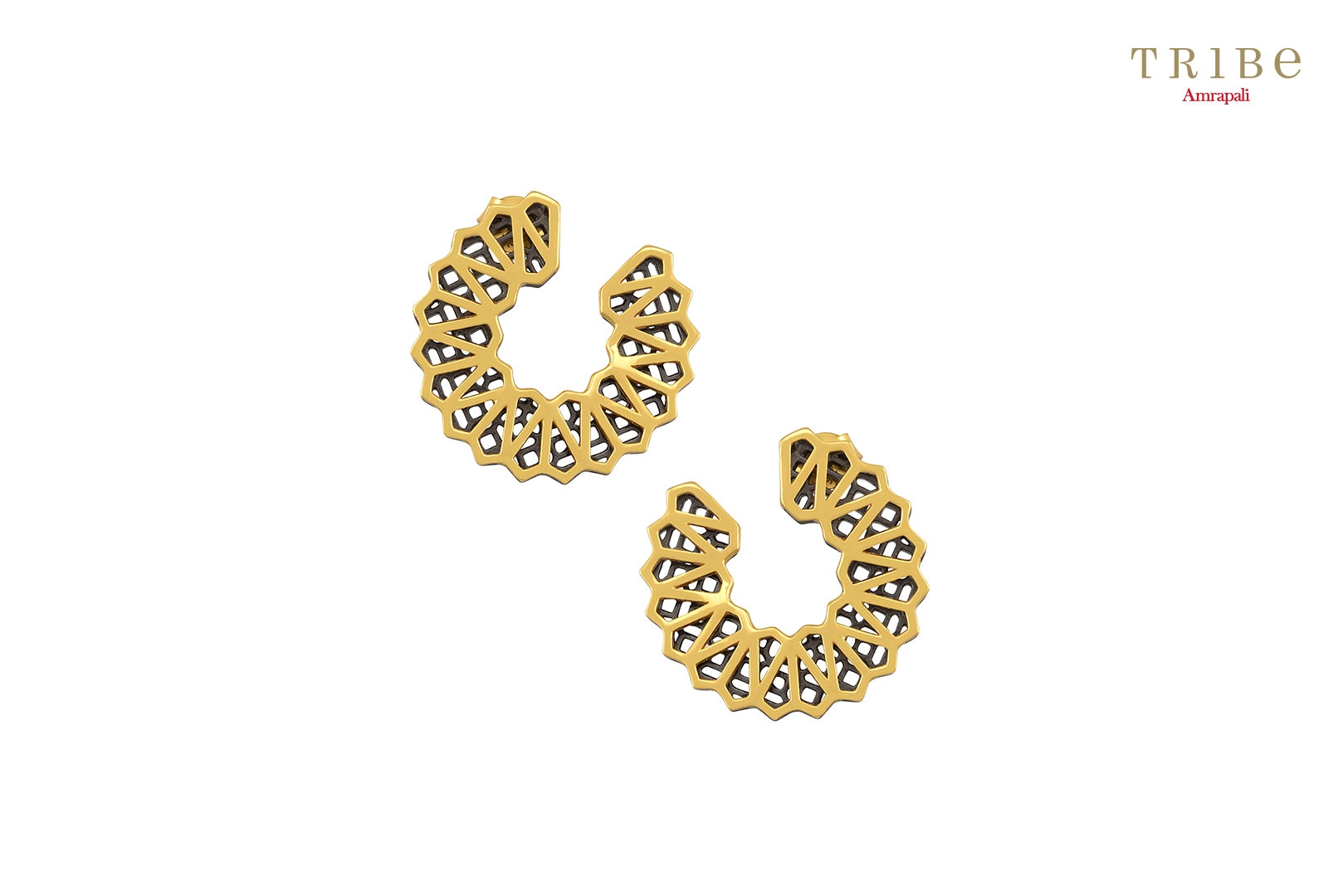 Shop online Silver Dual Tone Circular High Low Ear studs in USA by Amrapali. Adorn your Indian traditional look with an exquisite range of Indian silver gold plated earrings available at Pure Elegance fashion store in USA or shop online. -front view