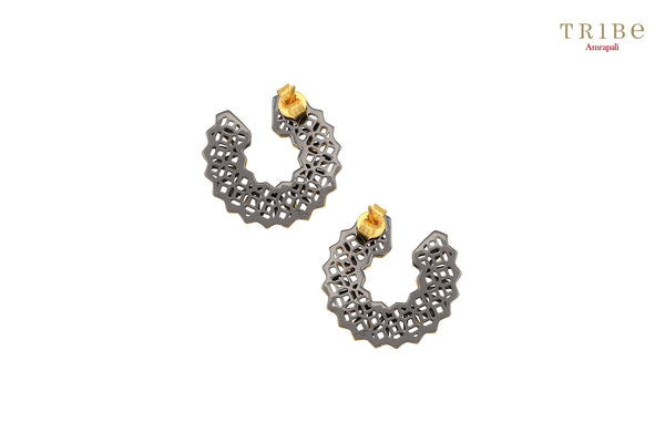 Shop online Silver Dual Tone Circular High Low Ear studs in USA by Amrapali. Adorn your Indian traditional look with an exquisite range of Indian silver gold plated earrings available at Pure Elegance fashion store in USA or shop online. -back view