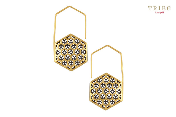 Shop online Silver Dual Tone Hexagon Hook Earrings in USA by Amrapali. Adorn your Indian traditional look with an exquisite range of Indian silver gold plated earrings available at Pure Elegance fashion store in USA or shop online. -front view