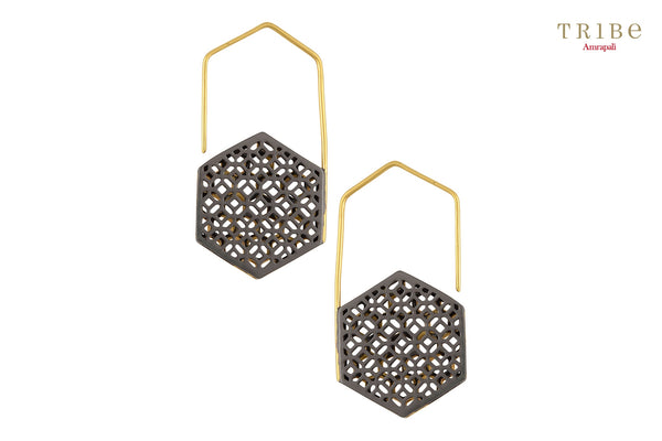 Shop online Silver Dual Tone Hexagon Hook Earrings in USA by Amrapali. Adorn your Indian traditional look with an exquisite range of Indian silver gold plated earrings available at Pure Elegance fashion store in USA or shop online. -back view