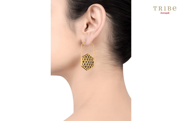 Shop online Silver Dual Tone Hexagon Hook Earrings in USA by Amrapali. Adorn your Indian traditional look with an exquisite range of Indian silver gold plated earrings available at Pure Elegance fashion store in USA or shop online. -ear view