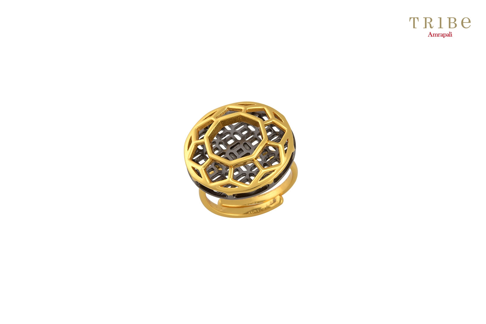 Shop online Silver Dual Tone Round Geometric Flower Ring in USA by Amrapali. Adorn your Indian traditional look with an exquisite range of Indian silver gold plated jewelry available at Pure Elegance fashion store in USA or shop online. -full view