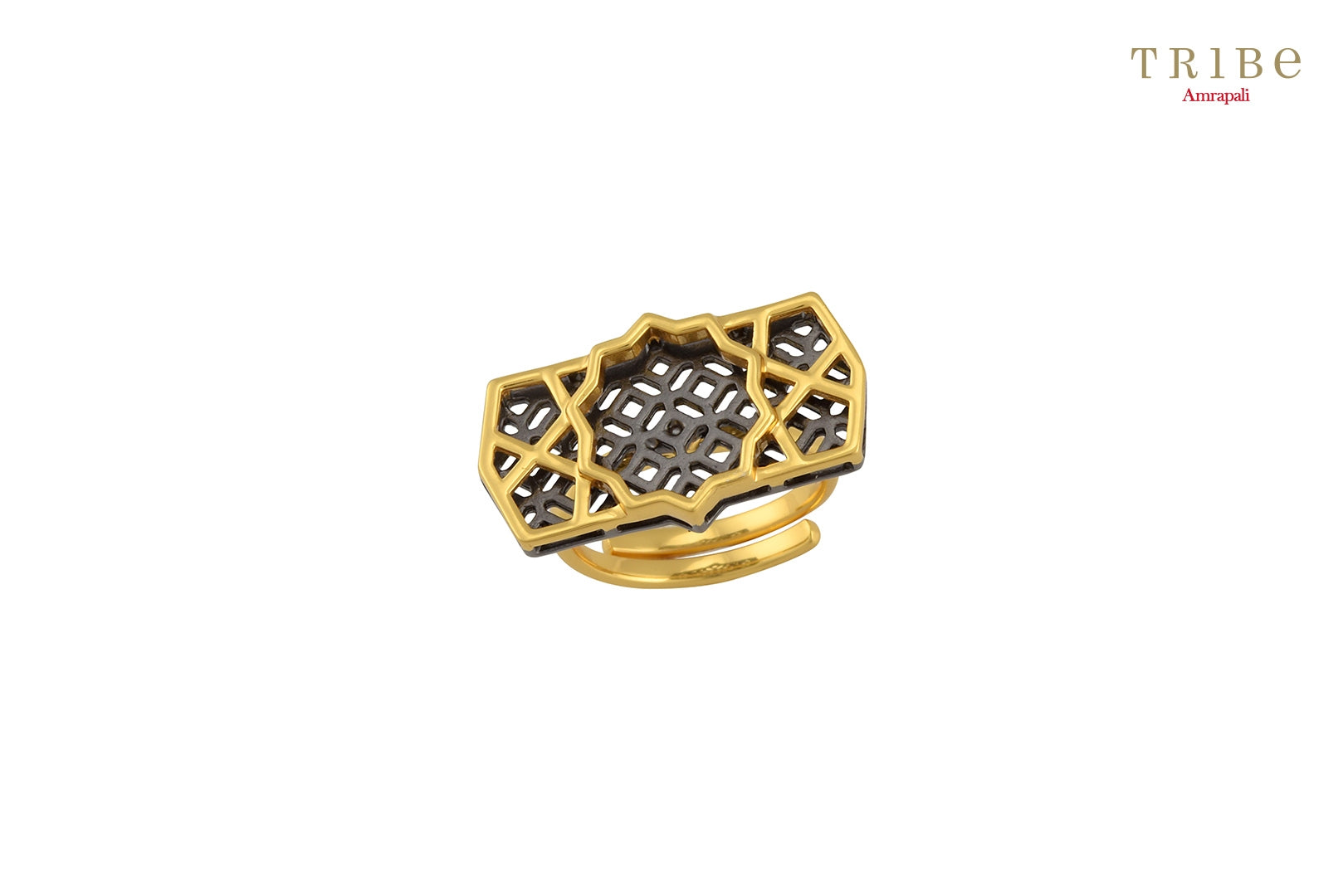 Buy Silver Gold Plated Star Motif Ring online in USA by Amrapali. Adorn your Indian traditional look with an exquisite range of Indian silver gold plated jewellery available at Pure Elegance fashion store in USA or shop online. -full view