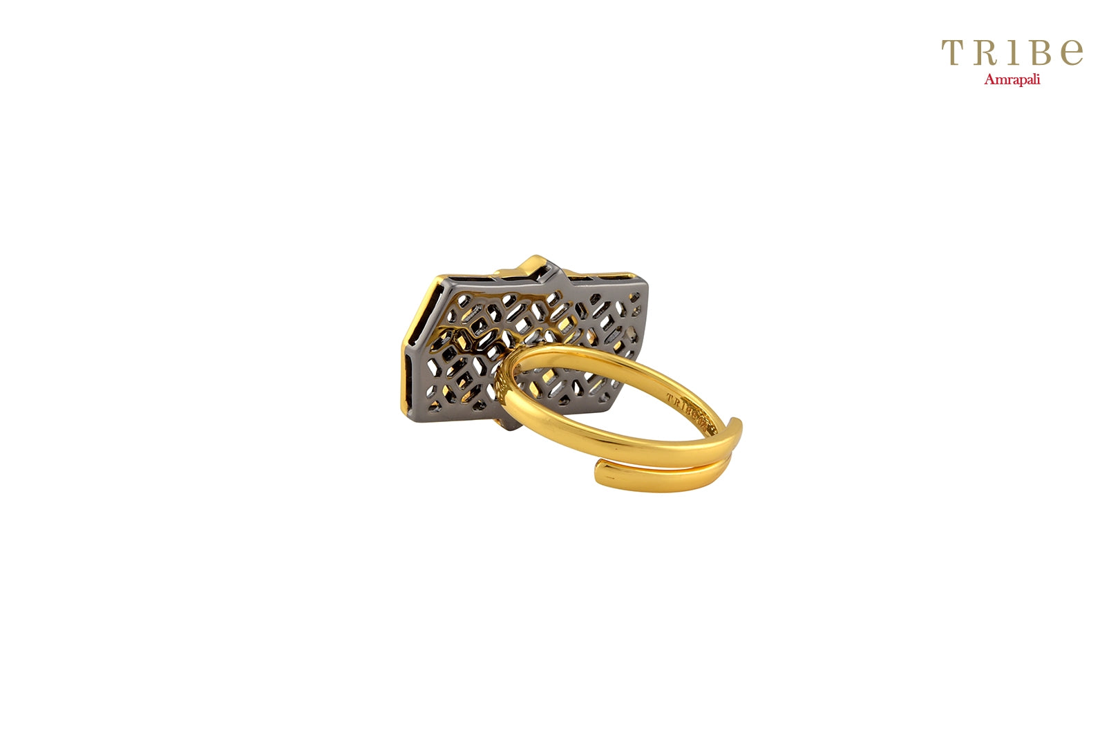 Buy Silver Gold Plated Star Motif Ring online in USA by Amrapali. Adorn your Indian traditional look with an exquisite range of Indian silver gold plated jewellery available at Pure Elegance fashion store in USA or shop online. -back view