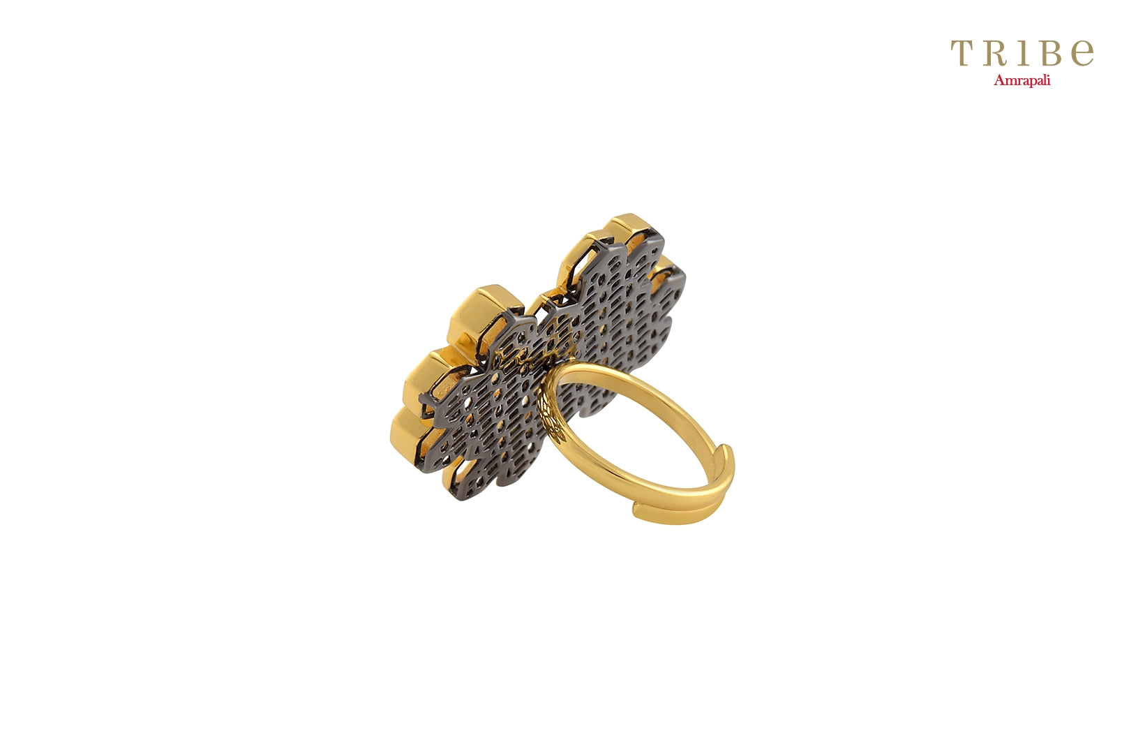 Shop online Silver Dual Tone Hexagon High Low Ring in USA by Amrapali. Adorn your Indian traditional look with an exquisite range of Indian silver gold plated rings available at Pure Elegance fashion store in USA or shop online. -back view