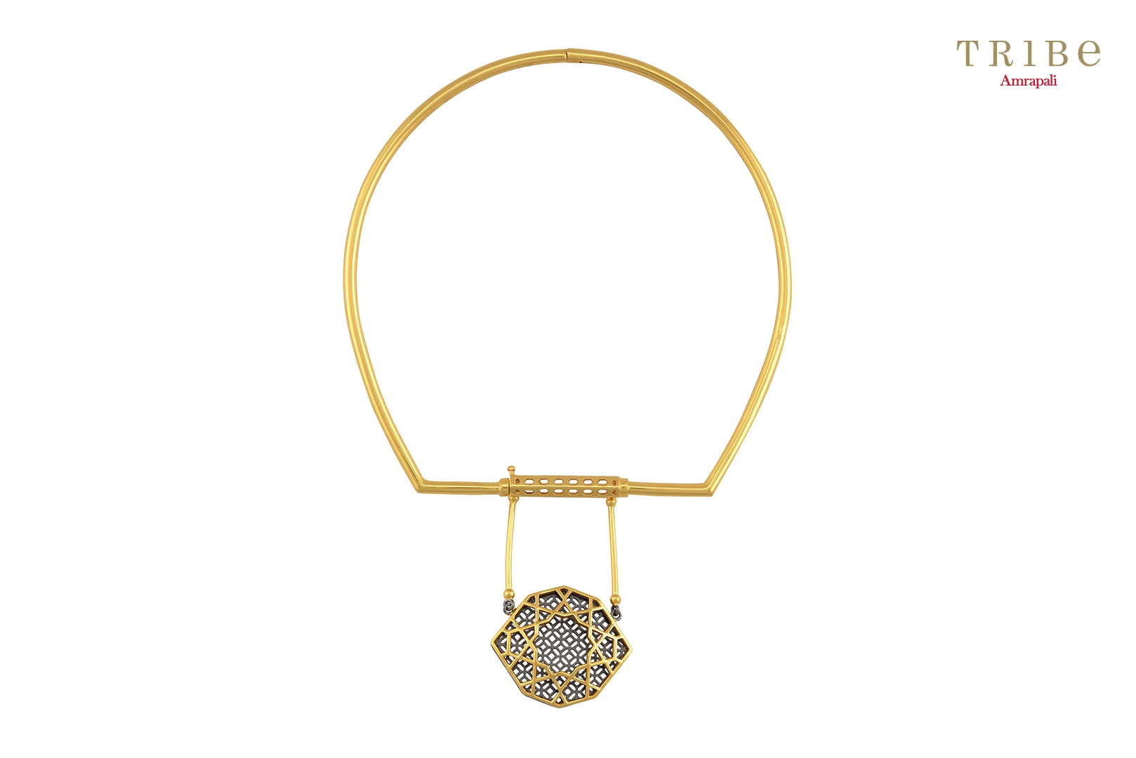 Shop online Silver Gold Plated Front Single Drop Necklace in USA by Amrapali. Adorn your Indian traditional look with an exquisite range of Indian silver gold plated jewelry available at Pure Elegance fashion store in USA or shop online. -full view